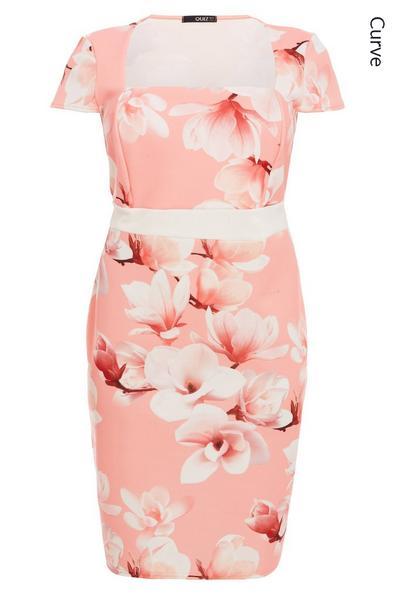 Curve Coral Floral Print Cap Sleeve Midi Dress